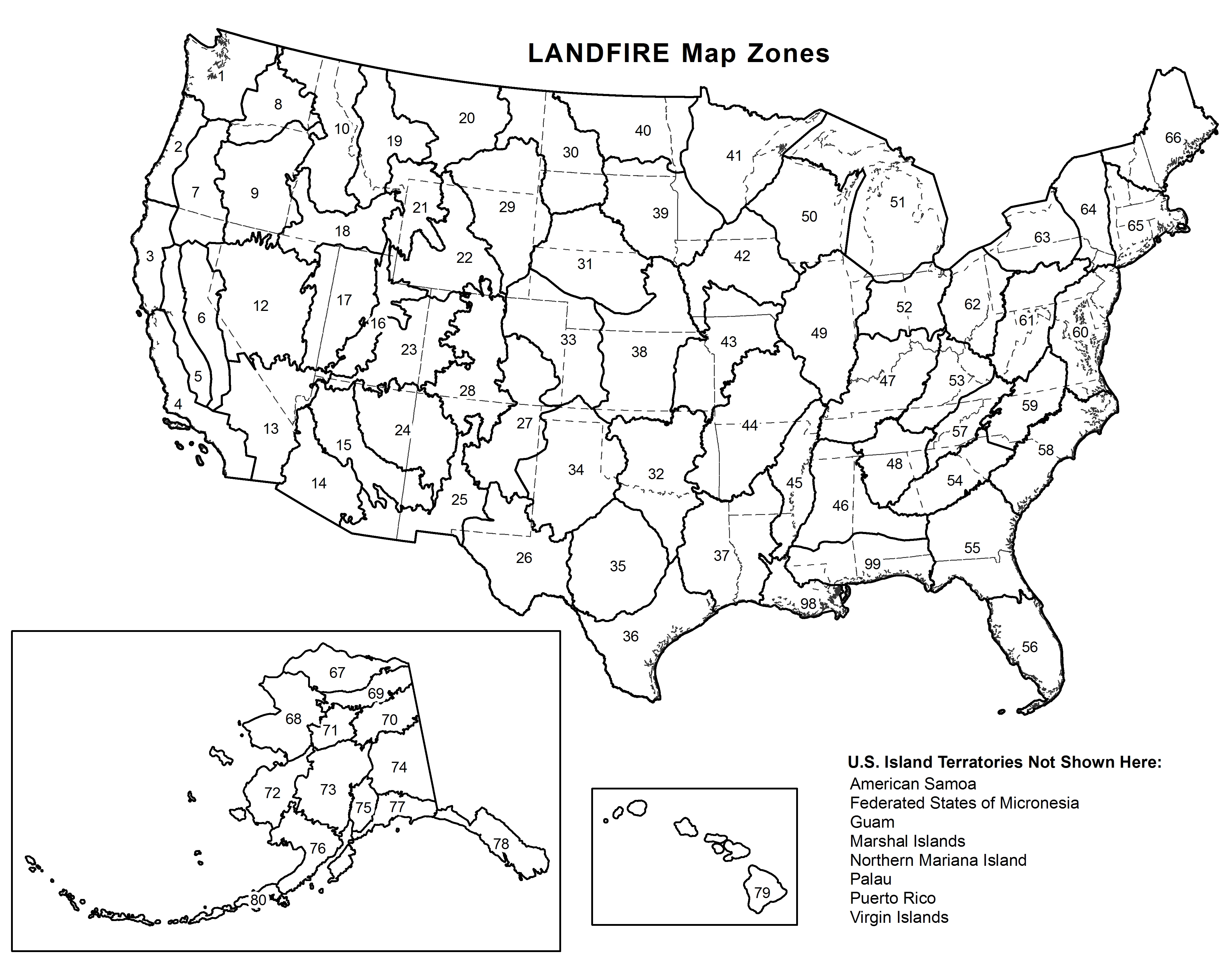 Larger LANDFIRE Map Zone Image